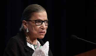 This Sept. 20, 2017, file photo shows U.S. Supreme Court Justice Ruth Bader Ginsburg speaking at the Georgetown University Law Center campus in Washington. (AP Photo/Carolyn Kaster, file)