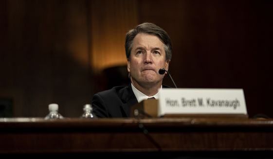 Supreme Court nominee Brett Kavanaugh testifies before the Senate Judiciary Committee on Capitol Hill in Washington, Thursday, Sept. 27, 2018. (Erin Schaff/The New York Times via AP, Pool)