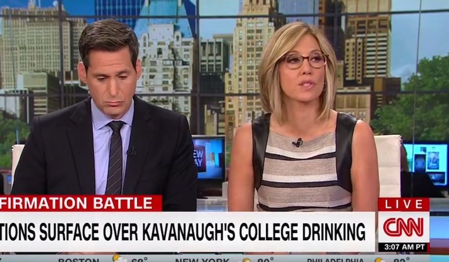 "CNN ""New Day"" anchor Alisyn Camerota told members of a panel on Oct. 2, 2018, that an ice-throwing incident involving Judge Brett Kavanaugh in 1985 is ""relevant"" to uncorroborated claims that he attempted to rape Christine Blasey Ford in the summer of 1982. (Image: CNN screenshot)"
