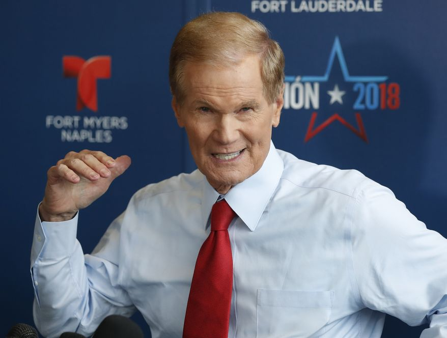 Incumbent Democratic Sen. Bill Nelson speaks to members of the media after a debate with Republican challenger Rick Scott, who is Florida's governor, in their campaign for a highly competitive U.S. Senate seat, Tuesday, Oct. 2, 2018, in Miramar, Fla. (AP Photo/Wilfredo Lee)