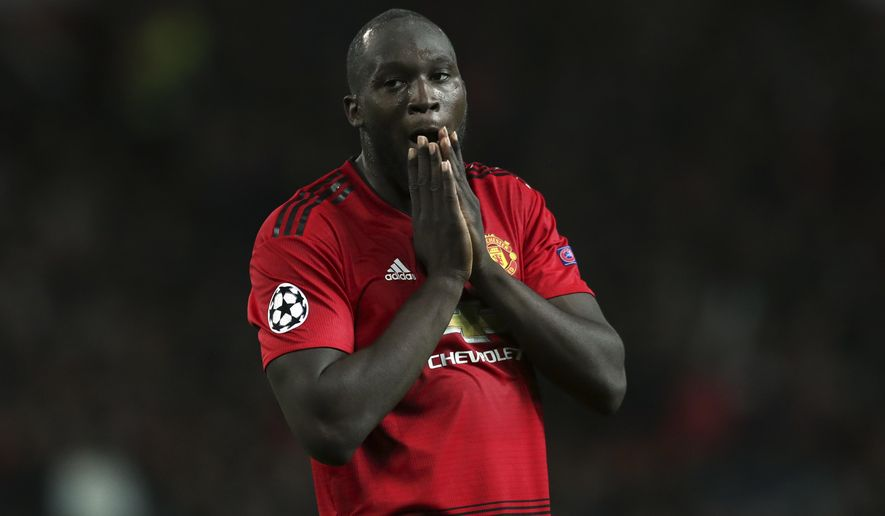 ManU forward Romelu Lukaku reacts during the Champions League group H soccer match between Manchester United and Valencia at Old Trafford Stadium in Manchester, England, Tuesday Oct. 2, 2018. (AP Photo/Jon Super)