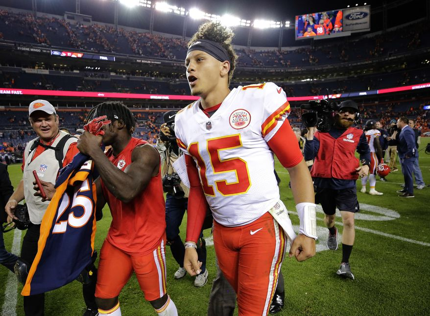 Kansas City Chiefs quarterback Patrick Mahomes (15) leaves the field after an NFL football game against the Denver Broncos, Monday, Oct. 1, 2018, in Denver. The Chiefs won 27-23. (AP Photo/Jack Dempsey)