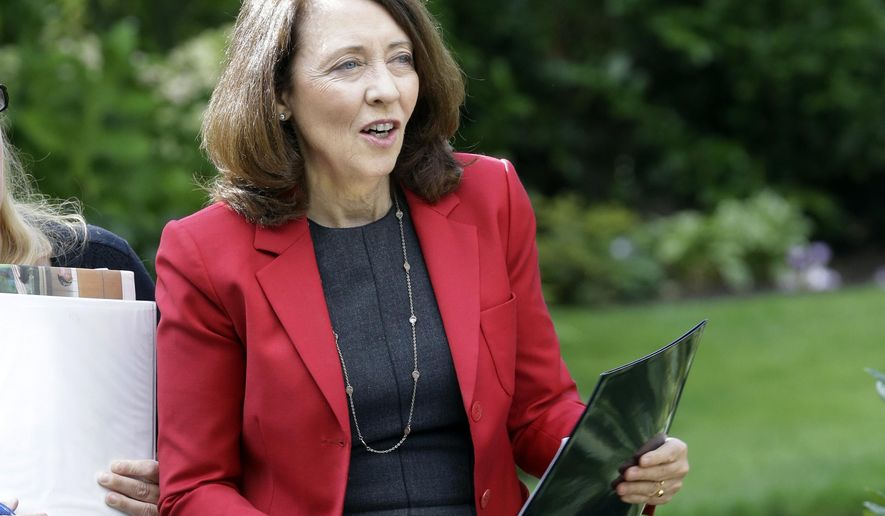 """FILE - In this Sept. 10, 2018, file photo, Sen. Maria Cantwell, D-Wash., is shown at a gathering in Vancouver, Wash. A popular program that supports conservation and outdoor recreation projects across the country expired after Congress could not agree on language to extend it. The Senate Energy and Natural Resources Committee is expected to consider a bill offered by Sen. Maria Cantwell of Washington state, the panel's top Democrat. Cantwell calls the conservation fund """"the key tool"""" that Congress uses to help communities """"preserve recreation opportunities and make the most cost-effective use of the land."""" (AP Photo/Don Ryan, File)"""