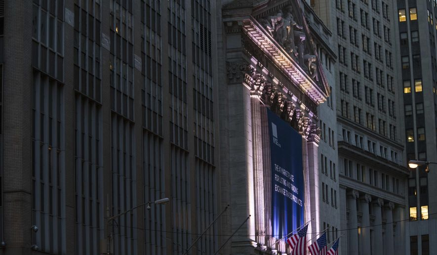 FILE- This Oct. 25, 2016, file photo shows the New York Stock Exchange. The U.S. stock market opens at 9:30 a.m. EDT on Tuesday, Oct. 2. (AP Photo/Mary Altaffer, File)
