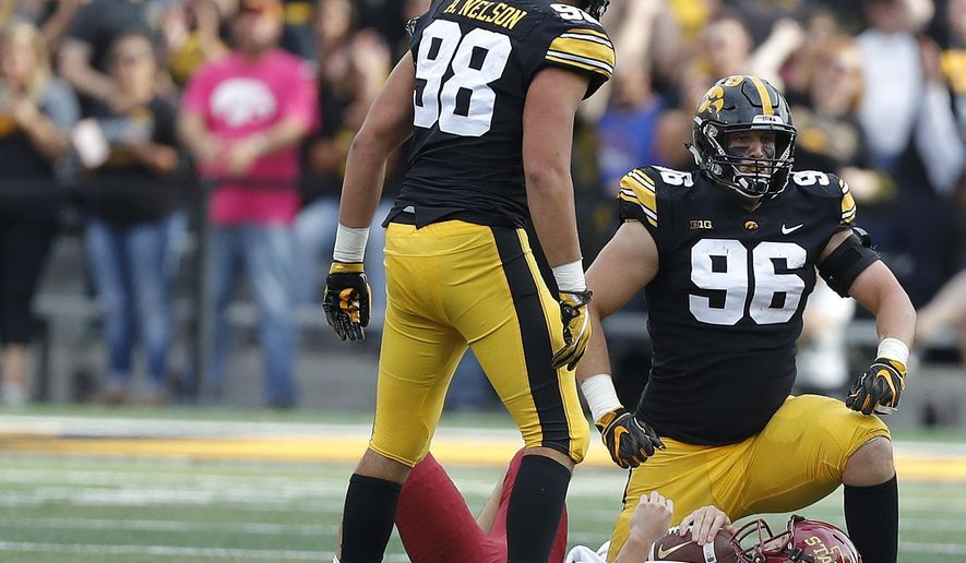 FILE - In this Sept. 8, 2018, file photo,Iowa defensive end Matt Nelson (96) celebrates after sacking Iowa State quarterback Kyle Kempt (17) while Iowa defensive end Anthony Nelson (98) stands by during the first half of an NCAA college football game, in Iowa City, Iowa. (AP Photo/Matthew Putney, File)