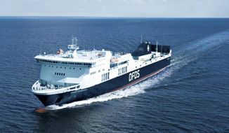 The undated photo provided in the photo library on the website of DFDS shows the vessel Regina Seaways. The ferry with 294 passengers on board was stranded in the Baltic Sea on Tuesday, Oct. 2, 2018 after an engine breakdown. The malfunction aboard the Regina Seaways produced smoke, which triggered the ship's fire extinguishing system in the engine room, DFDS said in a statement. (DFDS A/S via AP)