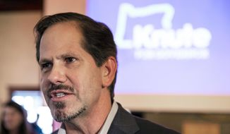 FILE - In this May 15, 2018 file photo, Republican gubernatorial candidate Knute Buehler joins supporters in Wilsonville, Ore. A debate between Oregon's main gubernatorial candidates will feature youth asking the questions. The meeting Tuesday, Oct. 2, 2018 at 7 p.m. features Democratic Gov. Kate Brown, Buehler and Patrick Starnes of the Independent Party. (Randy L. Rasmussen/The Oregonian via AP, File)