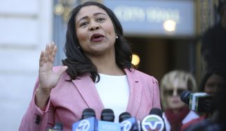 File - In this June 13, 2018 file photo, London Breed speaks to reporters outside of City Hall in San Francisco. California Gov. Jerry Brown vetoed legislation late Sunday, Sept. 30, 2018, that would have given San Francisco permission to test-open supervised drug injection sites. San Francisco's mayor, London Breed, has promised to open such a site. Breed, who was elected in June, lost a sibling to drug overdose and acknowledges that she has grappled with the idea. (AP Photo/Lorin Eleni Gill, File)