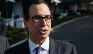 FILE - In this May 21, 2018, file photo, Treasury Secretary Steve Mnuchin talks with reporters about trade with China outside of the White House in Washington. Key posts overseeing the financial health of Social Security and Medicare have been vacant for more than three years, leaving the programs without independent accountability in the face of dire predictions about approaching insolvency. (AP Photo/Evan Vucci, File)