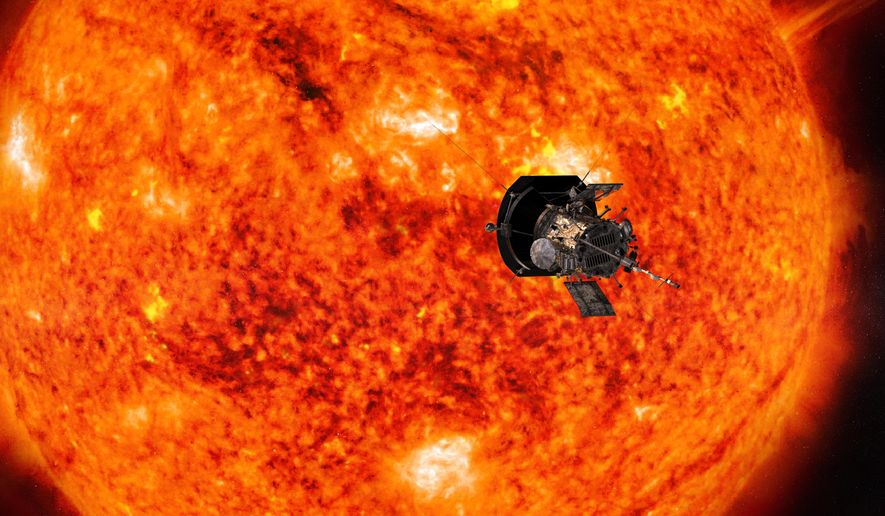 This illustration from NASA shows the Parker Solar Probe spacecraft approaching the sun. Launched in August 2018, the spacecraft will get a gravity assist Wednesday, Oct. 3, 2018, as it passes within 1,500 miles of Venus. The flyby is the first of seven that will draw Parker ever closer to the sun. (Steve Gribben/Johns Hopkins APL/NASA via AP)
