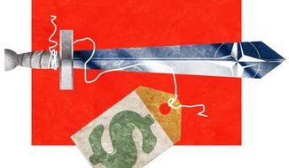 Illustration on the costs of NATO by Alexander Hunter/The Washington Times