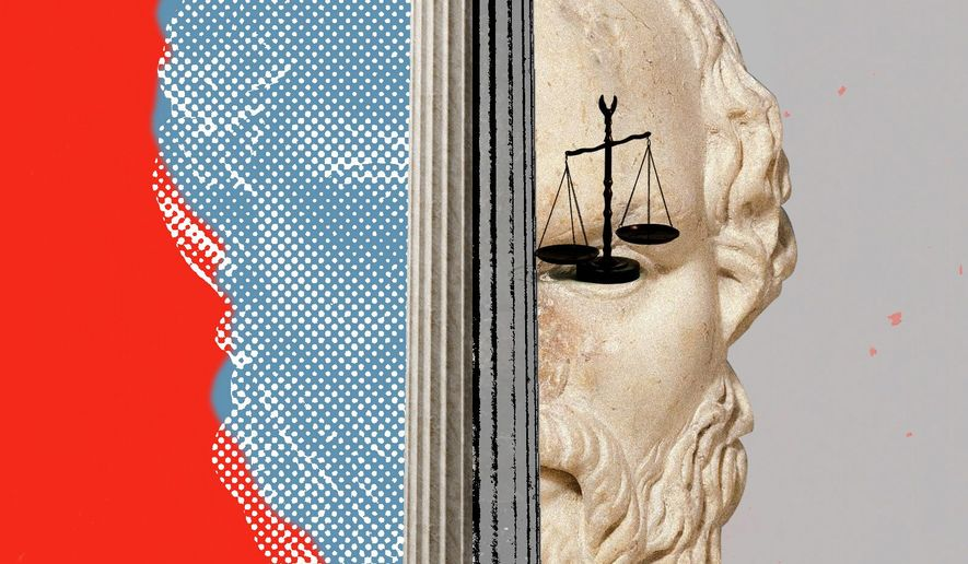 Illustration on the philosophical differences behind the Kavanaugh fight by Linas Garsys/The Washington Times