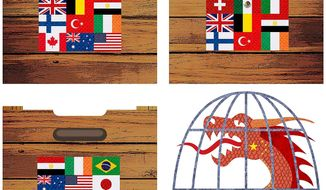 Internatioonal Trade Cage Illustration by Greg Groesch/The Washington Times