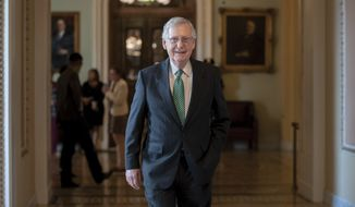 Senate Majority Leader Mitch McConnell, R-Ky., walks from the chamber as he awaits a FBI report on Supreme Court nominee Brett Kavanaugh, at the Capitol in Washington, Wednesday, Oct. 3, 2018. (AP Photo/J. Scott Applewhite)