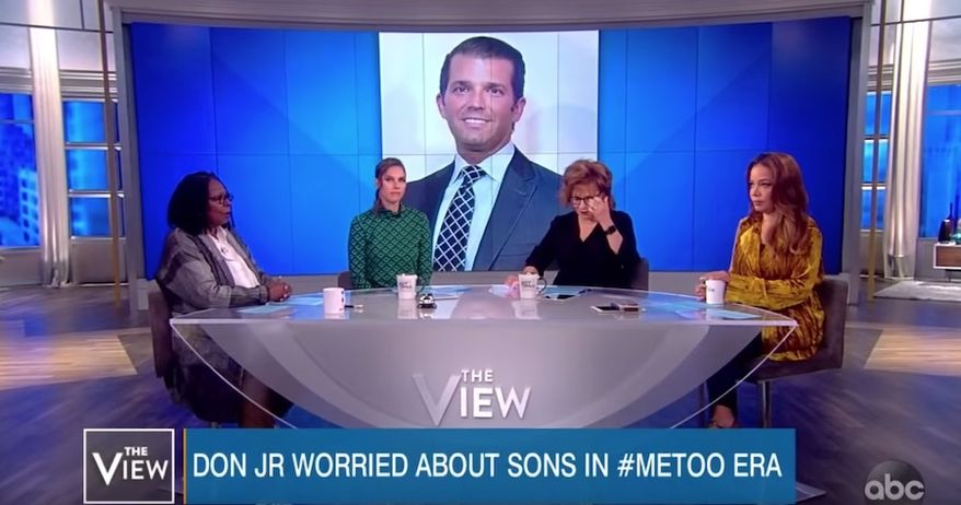 """Whoopi Goldberg and her co-hosts on """"The View"""" discuss Donald Trump Jr. and his family, Oct. 2, 2018. (Image: YouTube, """"The View"""" screenshot)"""