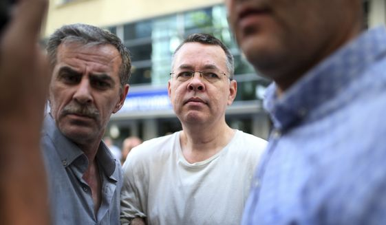 In this July 25, 2018, file photo, Andrew Craig Brunson, an evangelical pastor from Black Mountain, North Carolina, arrives at his house in Izmir, Turkey. The lawyer for Brunson at the center of a spat between NATO allies Turkey and the United States petitioned Turkey's highest court on Wednesday Oct. 3, 2018, seeking his release from house arrest. (AP Photo/Emre Tazegul, File)