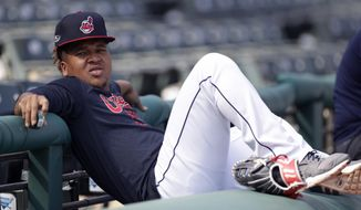 Cleveland Indians' Jose Ramirez relaxes before a baseball workout, Wednesday, Oct. 3, 2018, in Cleveland. The Indians play the Houston Astros in Game 1 of the American League division series on Friday in Houston. (AP Photo/Tony Dejak)