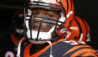 FILE - In this Oct. 29, 2017, file photo, Cincinnati Bengals outside linebacker Vontaze Burfict prepares to take the field before an NFL football game against the Indianapolis Colts, in Cincinnati. Burfict returns from his latest NFL suspension, rejoining a Bengals defense that has given up a lot of yards and points during Cincinnati's 3-1 opening run. (AP Photo/Gary Landers, File)
