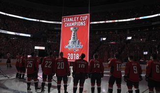 Washington Capitals players watch the Stanley Cup championship banner during a banner-raising ceremony before the team's NHL hockey game against the Boston Bruins, Wednesday, Oct. 3, 2018, in Washington. (AP Photo/Nick Wass)