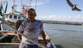 Shrimp boat captain Roy Lee Cannon stands his boat at the Eagle Point Fish Camp Thursday, June 14, 2018, in San Leon, Texas. Cannon has voiced concerns about the construction of a anhydrous ammonia plant in nearby Texas City that he believes could affect the bay and surrounding areas. (Michael Ciaglo/Houston Chronicle via AP)