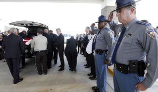 Mississippi Highway Patrol Deputy Director Lt. Col. Randy Ginn, right, and Patrol Director Col. Chris Gillard, salute as the body of Brookhaven, Miss., police officer James White, left, is loaded into a hearse following his funeral service, Wednesday, Oct. 3, 2018, at Easthaven Baptist Church in Brookhaven. White and Corporal Zach Moak were killed early Saturday, Sept. 30, responding to a call. (AP Photo/Rogelio V. Solis)
