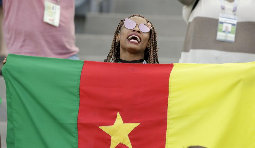 """FILE - In this Sunday, June 25, 2017 file photo, a Cameroon fan holds a flag prior to the Confederations Cup, Group B soccer match between Germany and Cameroon, at the Fisht Stadium in Sochi, Russia. The head of the African soccer confederation says the body has """"never thought"""" of removing Cameroon as host of next year's African Cup of Nations, a statement at odds with its position last week when it declined to back the country until at least two more inspection visits. Confederation of African Football president Ahmad, who goes by one name, said Tuesday, Oct. 2, 2018 the tournament """"depends on Cameroon not CAF."""" (AP Photo/Thanassis Stavrakis, file)"""