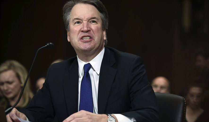 In this Sept. 27, 2018, photo, Supreme Court nominee Judge Brett Kavanaugh gives his opening statement before the Senate Judiciary Committee on Capitol Hill in Washington. Kavanaugh is blaming the Clintons for the sexual misconduct allegations against him. In doing so, the judge is drawing new attention to his time on the Kenneth Starr team investigating Bill Clinton's sexual misconduct in the 1990s. And he's shown he can deliver a Trump-like broadside against detractors even if it casts him in a potentially partisan light. (Saul Loeb/Pool Image via AP)