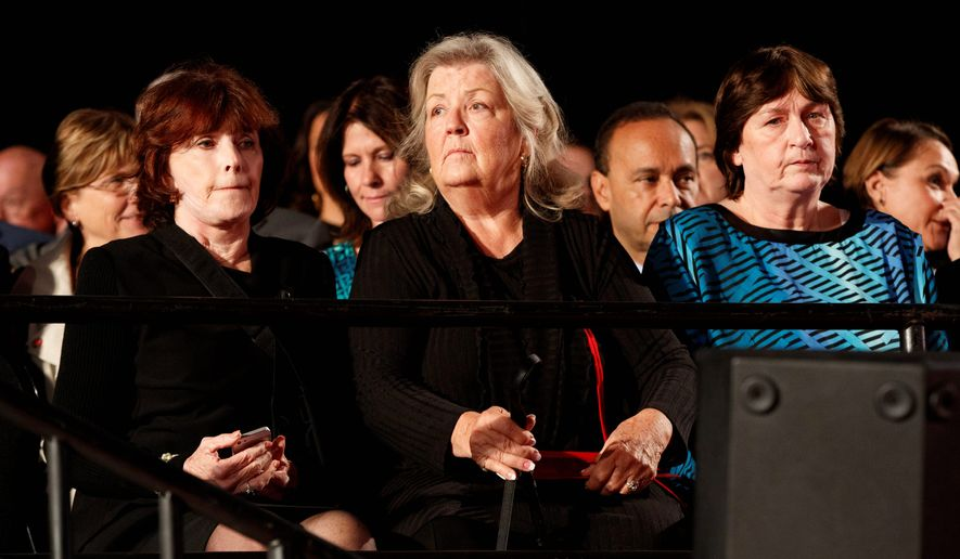 """""""The reason I was upset is because I had so much proof that it happened,"""" said Juanita Broaddrick, center. """"And in this situation there isn't any,"""" Ms. Broaddrick said of Christine Blasey Ford's testimony. (Associated Press)"""