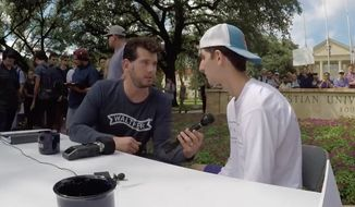 "Texas Christian University has denounced conservative podcaster Steven Crowder and offered counseling for students offended by his ""change my mind"" event earlier this week. (Twitter/@scrowder)"