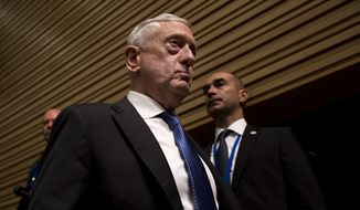 U.S. Secretary for Defence Jim Mattis arrives to a news conference at the end of the second day of a meeting of the North Atlantic Council at a gathering of NATO defence ministers at NATO headquarters in Brussels, Thursday, Oct. 4, 2018. (AP Photo/Francisco Seco)