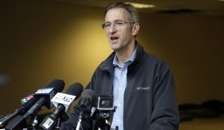 In this Jan. 17, 2017, file photo, Portland Mayor Ted Wheeler speaks during a press conference in Portland, Ore. The union representing U.S. Immigration and Customs Enforcement employees has asked Oregon and federal officials to conduct a criminal investigation of the Portland mayor over his response to immigration protests. (AP Photo/Don Ryan, File)