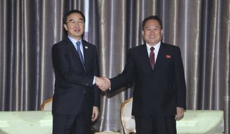 South Korean Unification Minister Cho Myoung-gyon, left, shakes hands with Ri Son Gwon, chairman of the North Korean agency that handles inter-Korean affairs, at the Pyongyang Airport in Pyongyang, North Korea, Thursday, Oct. 4, 2018. A South Korean government delegation arrived in North Korea on Thursday for a joint celebration of the anniversary of a 2007 summit and to possibly hold further peace talks. (Joint Press Corps Pyeongyang Pool via AP)