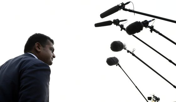 White House spokesman Raj Shah talks to reporters about the FBI investigation of Supreme Court nominee Brett Kavanaugh outside the West Wing of the White House in Washington, Thursday, Oct. 4, 2018. (AP Photo/Susan Walsh)