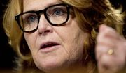 In this Feb. 14, 2017, photo, Sen. Heidi Heitkamp, D-N.D., testifies in front of the Senate Banking Committee in Washington. (AP Photo/Andrew Harnik, File)