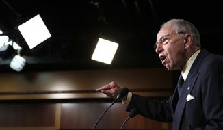Senate Judiciary Committee Chairman Sen. Chuck Grassley, R-Iowa, speaks about the FBI investigation of then-Supreme Court nominee Brett Kavanaugh, Thursday, Oct. 4, 2018, on Capitol Hill in Washington. (AP Photo/Jacquelyn Martin) ** FILE **