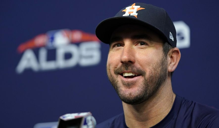 Houston Astros starting pitcher Justin Verlander answers a question during a baseball news conference Thursday, Oct. 4, 2018, in Houston. The Astros play the Cleveland Indians in Game 1 of the American League Division Series on Friday. (AP Photo/David J. Phillip)