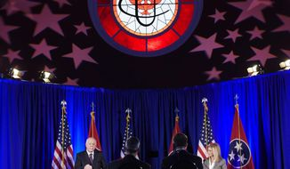 Democratic candidate Phil Bredesen and Republican candidate Marsha Blackburn speak at the 2018 Tennessee U.S. Senate Debate at Cumberland University Tuesday, Sept. 25, 2018, in Lebanon, Tenn. (Lacy Atkins/The Tennessean via AP, Pool)