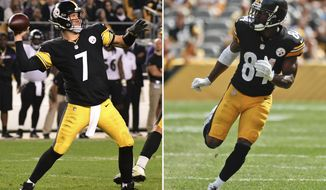 FILE - At left, in a Sept. 30, 2018, file photo, Pittsburgh Steelers quarterback Ben Roethlisberger (7) throws a pass during the second half of an NFL football game against the Baltimore Ravens in Pittsburgh. At right, in a Sept. 16, 2018, file photo, Pittsburgh Steelers wide receiver Antonio Brown (84) is shown during an NFL football game against the Kansas City Chiefs, in Pittsburgh. Expected to be playoff contenders, Atlanta (1-3) and Pittsburgh (1-2-1) are reeling a month into the season thanks to injuries and poor defensive play, leaving the door open for a shootout between Steelers quarterback Ben Roethlisberger and counterpart Matt Ryan.  (AP Photo/File)