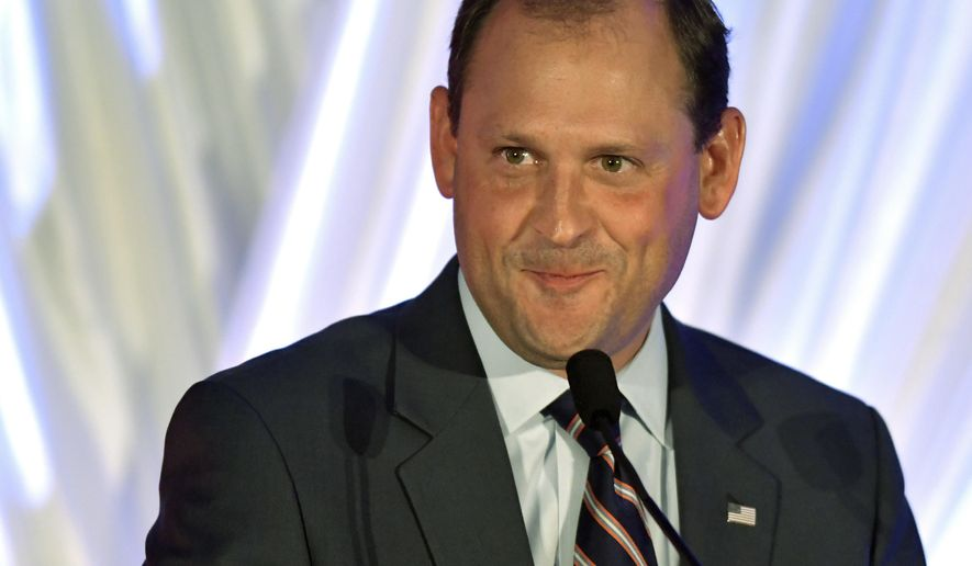 """FILE - In this Aug. 25, 2018, file photo, Rep. Andy Barr, R-Ky., speaks at the Republican Party's Lincoln Dinner in Lexington, Ky. Republicans and Democrats in Congress have approved bipartisan legislation aimed at curbing the country's devastating opioid addiction. But the bill, which President Donald Trump said he will sign into law, has political implications. """"We've been working on this a lot longer than this campaign season,"""" Barr said. """"It's an example of us getting results."""" (AP Photo/Timothy D. Easley, File)"""