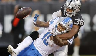 FILE - In this Aug. 10, 2018, file photo, Oakland Raiders cornerback Daryl Worley (36) breaks up a pass intended for Detroit Lions wide receiver Kenny Golladay during the first half of an NFL preseason football game, in Oakland, Calif. The Raiders struggling defense gets a boost this week with the return of cornerback Daryl Worley from suspension. (AP Photo/John Hefti, File)