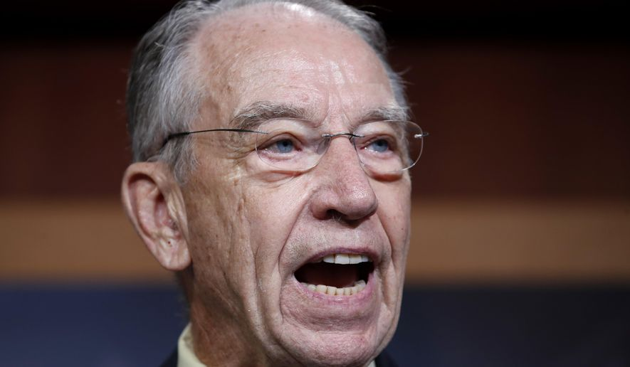 Senate Judiciary Committee Chairman Sen. Chuck Grassley, R-Iowa, speaks about the FBI investigation of Supreme Court nominee Brett Kavanaugh, Thursday, Oct. 4, 2018, on Capitol Hill in Washington. (AP Photo/Jacquelyn Martin)