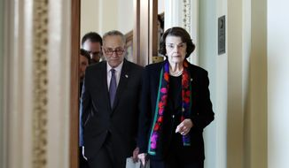 Senate Minority Leader Chuck Schumer, D-N.Y., left, and Senate Judiciary Committee Ranking Member Sen. Dianne Feinstein, D-Calif., arrive to speak to the media about the FBI report on sexual misconduct allegations against Supreme Court nominee Brett Kavanaugh, on Capitol Hill, Thursday, Oct. 4, 2018 in Washington. (AP Photo/Alex Brandon)