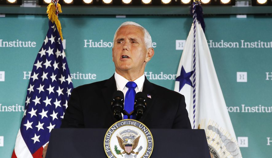 "Vice President Mike Pence speaks Thursday, Oct. 4, 2018, at the Hudson Institute in Washington. Pence said China was using its power in ""more proactive and coercive ways to interfere in the domestic policies and politics of the United States.""  (AP Photo/Jacquelyn Martin)"