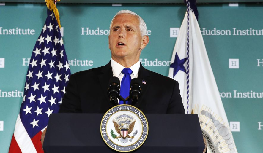 """Vice President Mike Pence, speaking Oct. 4 at the Hudson Institute in Washington, said China was using its power in """"more proactive and coercive ways to interfere in the domestic policies and politics of the United States."""" (Associated Press)"""