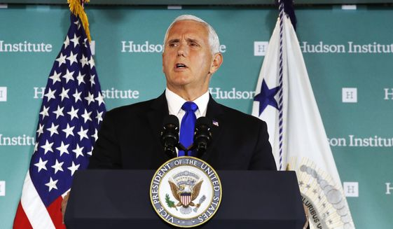 "Vice President Mike Pence, speaking Oct. 4 at the Hudson Institute in Washington, said China was using its power in ""more proactive and coercive ways to interfere in the domestic policies and politics of the United States."" (Associated Press)"
