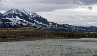FILE--In this Nov. 21, 2016, file photo, the Yellowstone River is shown in Montana's Paradise Valley with Emigrant Peak in the background near Pray, Mont. Officials on Monday, Oct. 1, 2018, blocked new mining claims outside Yellowstone National Park. Federal officials have proposed blocking mining claims on more than 30,000 acres north of the nation's first national park. (AP Photo/Matthew Brown, file)