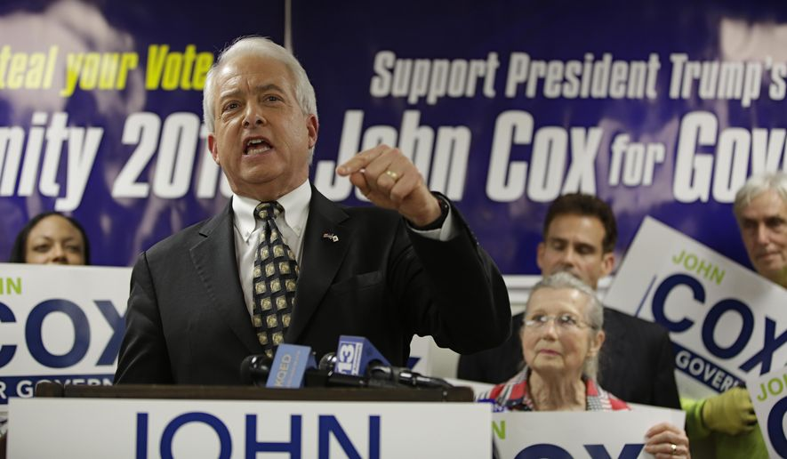 ADVANCE FOR RELEASE SATURDAY, OCT. 6, 2018, AND THEREAFTER - FILE - In this May 23, 2018, file photo, Republican gubernatorial candidate John Cox addresses supporters at the Sacramento County Republican Party headquarters in Sacramento, Calif. Cox, a businessman living in the San Diego area, is running against Lt. Gov. Gavin Newsom to replace Gov. Jerry Brown. (AP Photo/Rich Pedroncelli, File)