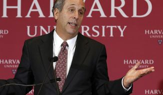 FILE - In this Feb. 11, 2018 file photo, Lawrence Bacow speaks after being introduced as the 29th president of Harvard University in Cambridge, Mass. Bacow will be inaugurated into the position on Friday, Oct. 5. (AP Photo/Bill Sikes, File)