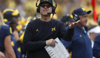 FILE - In this Sept. 22, 2018, file photo, Michigan coach Jim Harbaugh watches during the second half of the team's NCAA football game against Nebraska in Ann Arbor, Mich. No. 15 Michigan needs a confidence-building tuneup against Maryland before playing Wisconsin, at Michigan State and Penn State. (AP Photo/Paul Sancya)
