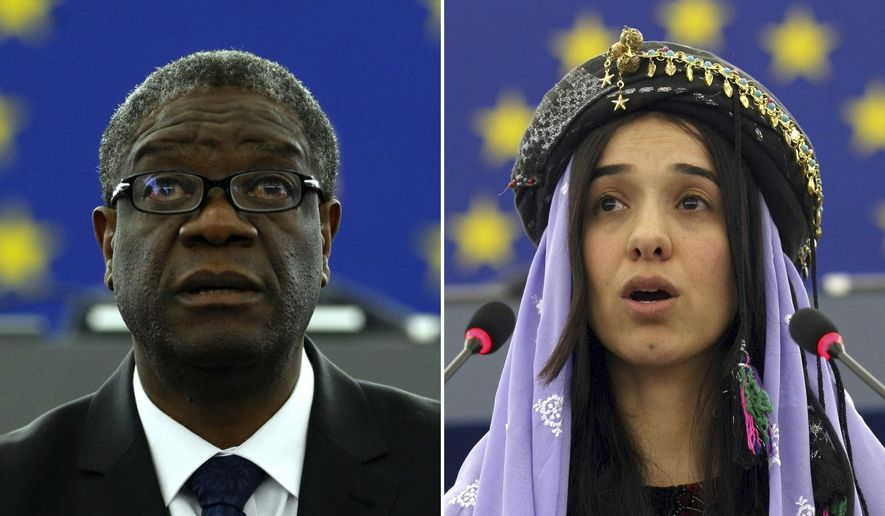 The combo of file photos shows Doctor Denis Mukwege, from the Democratic Republic of Congo, left, on Nov. 26, 2014, and Yazidi woman from Iraq, Nadia Murad on Dec. 13, 2016, as they both address the European parliament in Strasbourg, France. The Nobel Peace Prize on Friday, Oct. 5, 2018, was awarded to the Congolese doctor and a Yazidi former captive of the Islamic State group for their work to highlight and eliminate the use of sexual violence as a weapon of war. (AP Photos/Christian Lutz, file)